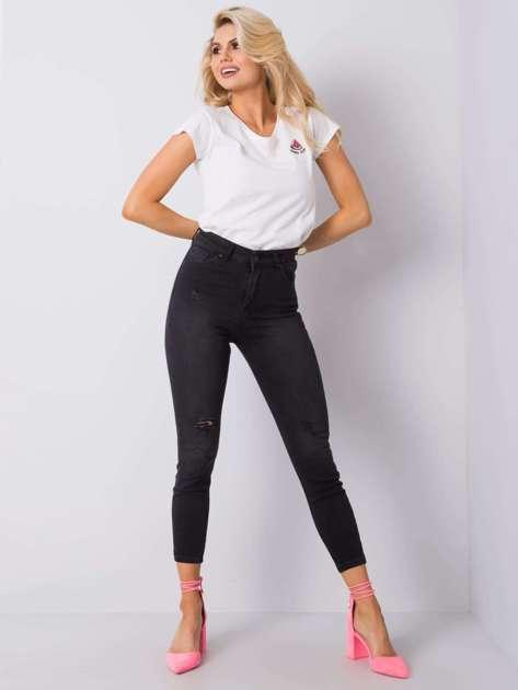 Czarne jeansy z przetarciami Yuriko RUE PARIS