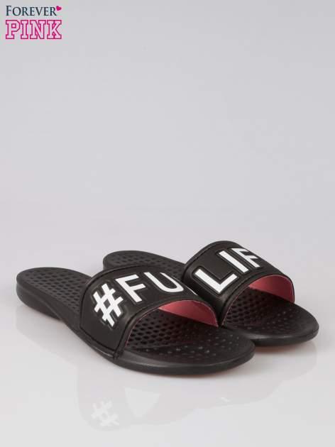 Czarne klapki hipster z hasztagiem #FUN LIFE                                  zdj.                                  2