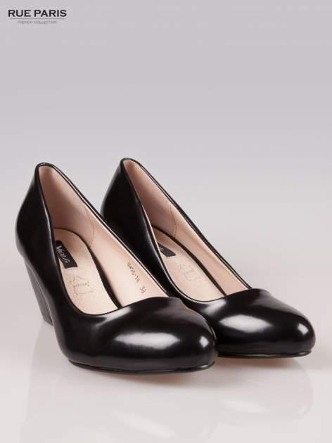 Czarne klasyczne koturny faux leather Mary                                  zdj.                                  2