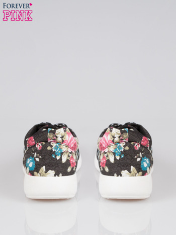 Czarne kwiatowe buty sportowe Bring It On na podeszwie flex                                  zdj.                                  3