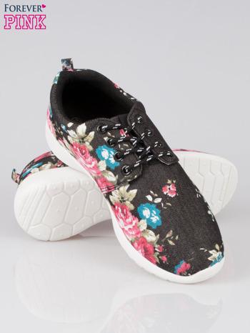 Czarne kwiatowe buty sportowe Bring It On na podeszwie flex                                  zdj.                                  4