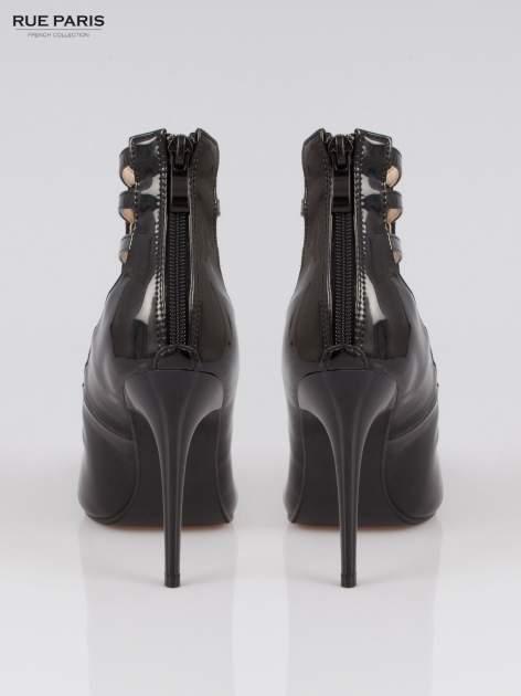 Czarne lakierowane botki lace up Carra                                  zdj.                                  3