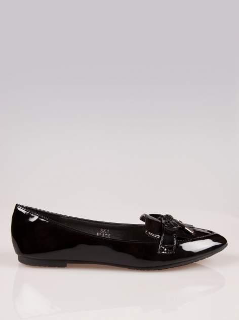 Czarne lakierowane lordsy faux leather Miracle z kokardką                                  zdj.                                  1