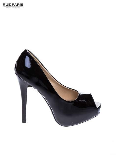 Czarne lakierowane platformy peep toe