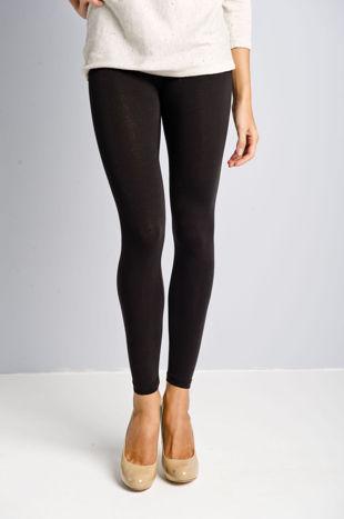 Czarne legginsy bawełniane z gumką w pasie                                  zdj.                                  1