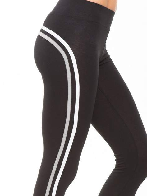 Czarne legginsy z biało-szarymi lampasami                                  zdj.                                  6