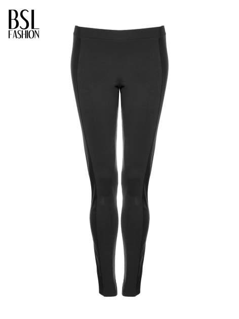 Czarne legginsy z lampasami ze skóry ekologicznej                                  zdj.                                  5