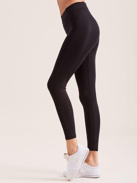 Czarne legginsy z szeroką gumką w pasie                               zdj.                              3
