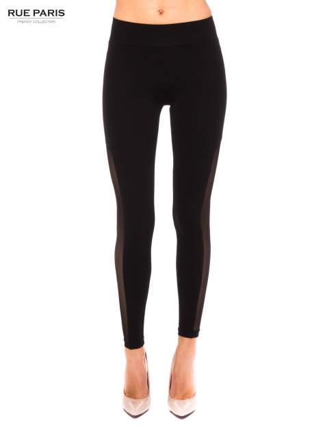 Czarne legginsy z tiulową siateczką
