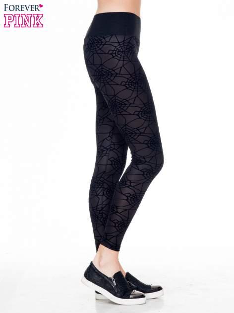 Czarne legginsy z wysokim pasem z nadrukiem pajęczej sieci                                  zdj.                                  3