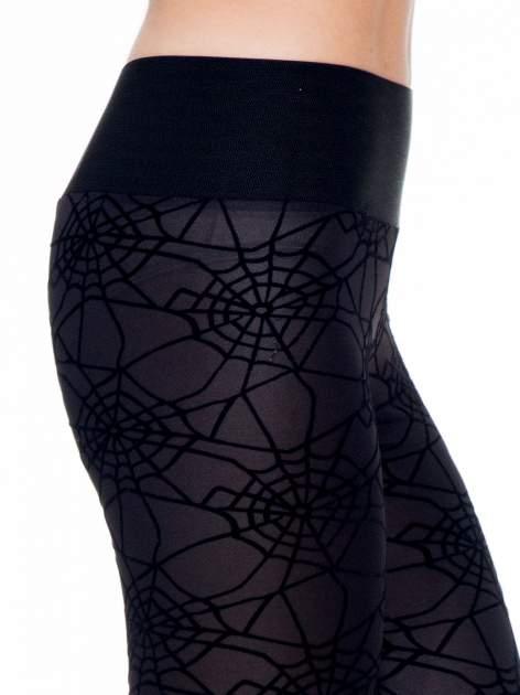 Czarne legginsy z wysokim pasem z nadrukiem pajęczej sieci                                  zdj.                                  5