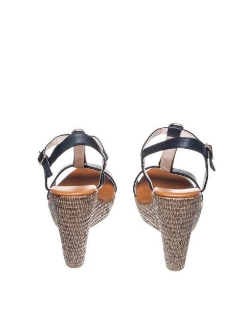 Czarne letnie sandały t-bary na koturnie                                  zdj.                                  3