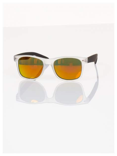 Czarne lustrzanki z filtrami UV okulary z klasyczną oprawką WAYFARER NERD z efektem mlecznego szkła-odporne na wyginania                                  zdj.                                  2