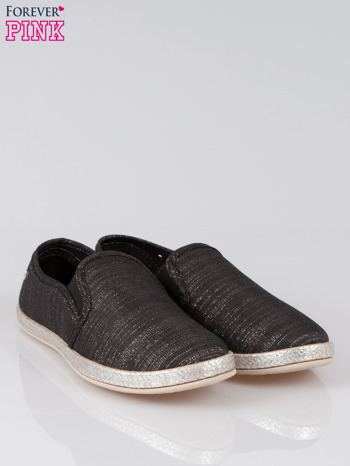 Czarne melanżowe buty slip-on                                  zdj.                                  2