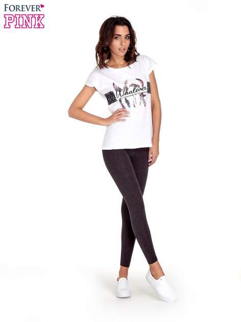 Czarne melanżowe legginsy damskie basic                                  zdj.                                  8