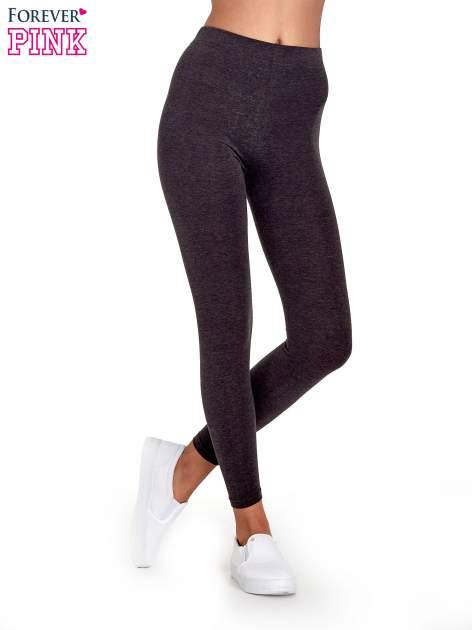 Czarne melanżowe legginsy damskie basic                                  zdj.                                  1