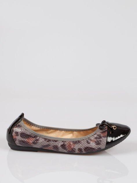 Czarne panterkowe balerinki faux leather Wild na gumkę                                  zdj.                                  1