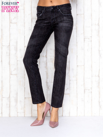 Czarne przecierane spodnie jeansowe ze srebrną nitką                                  zdj.                                  1