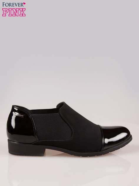 Czarne przejściowe botki damskie z gumą po bokach cholewki