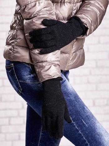 Czarne rękawiczki ze srebrną nicią z wywijanym mankietem                                  zdj.                                  3