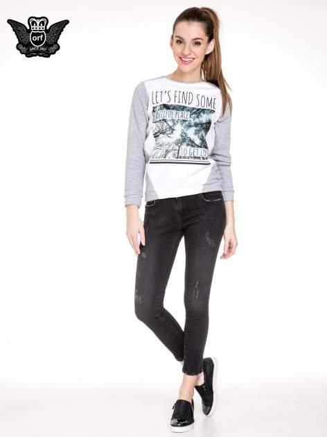 Czarne rozjaśniane spodnie jeansowe 7/8 z przetarciami                                  zdj.                                  2