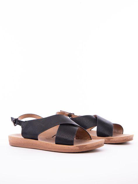 Czarne sandały Mulanka z tłoczoną fakturą                               zdj.                              2