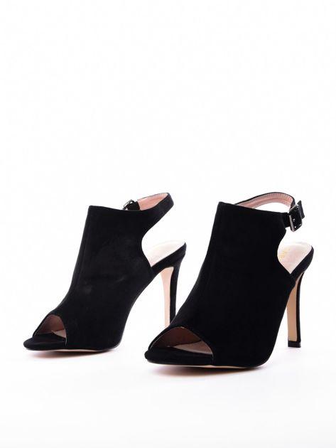 Czarne sandały SABATINA z głęboko wyciętą cholewką                               zdj.                              2