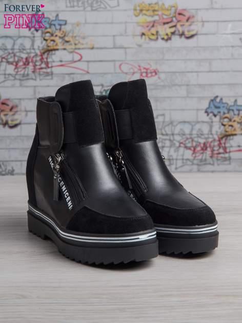 Czarne skórzane sneakersy Perry z zamszowymi wstawkami i suwakami