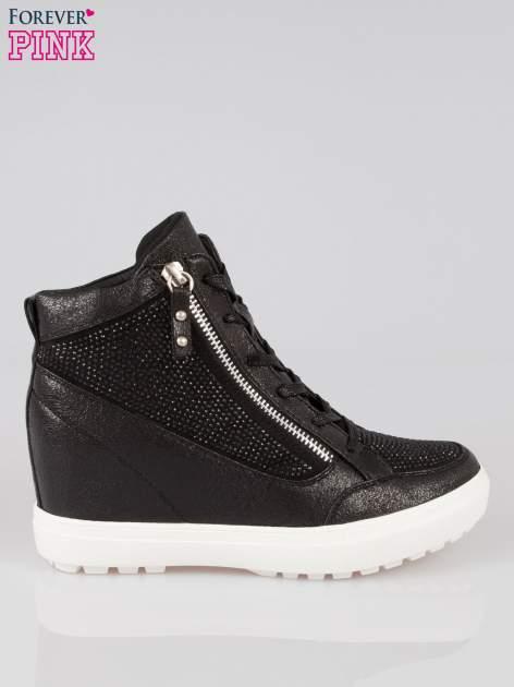Czarne sneakersy damskie z kryształkami