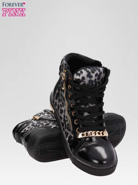 Czarne sneakersy damskie z motywem panterki                                  zdj.                                  4