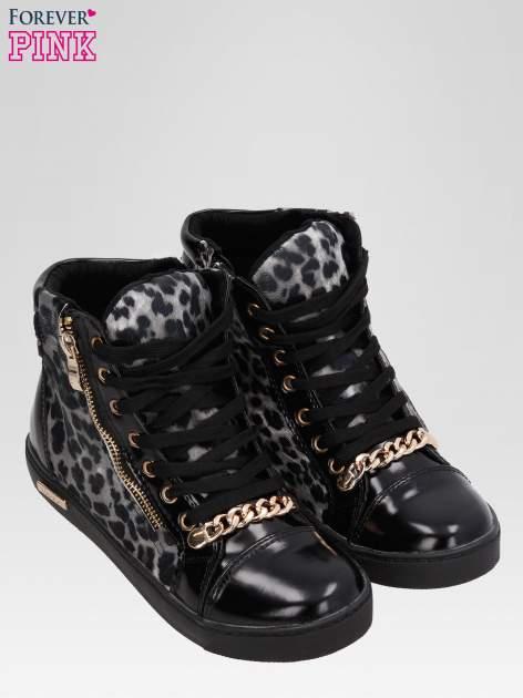 Czarne sneakersy damskie z motywem panterki                                  zdj.                                  6