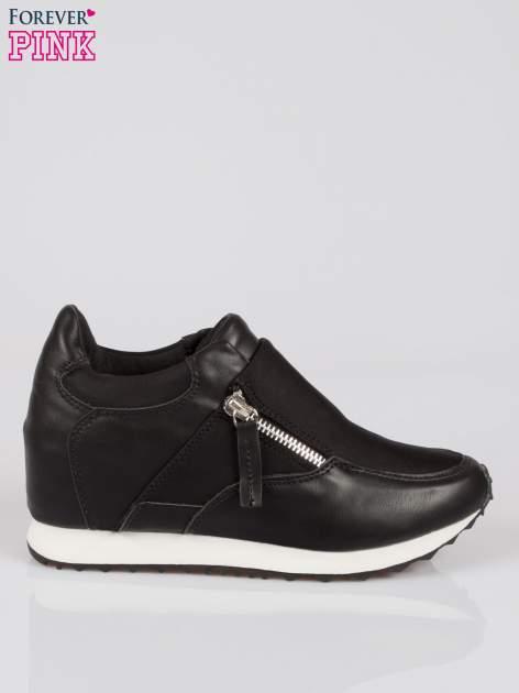 Czarne sneakersy damskie z suwakiem