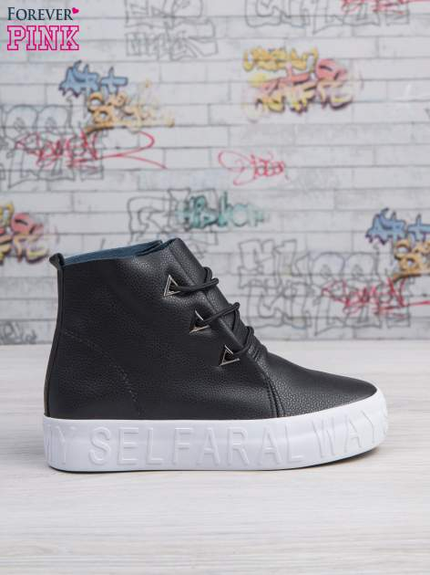Czarne sneakersy za kostkę Ally z surowym wykończeniem                                  zdj.                                  2
