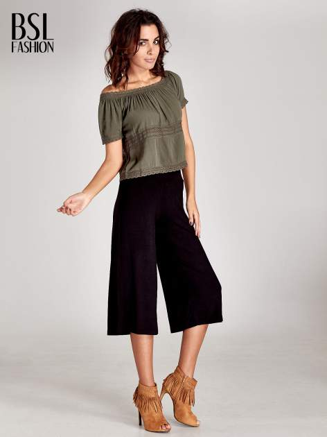 Czarne spódnicospodnie typu culottes                                  zdj.                                  5
