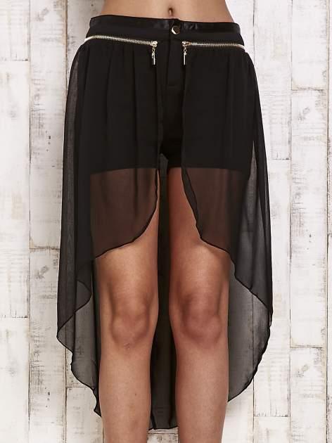 Czarne spódnicospodnie z tiulowym trenem