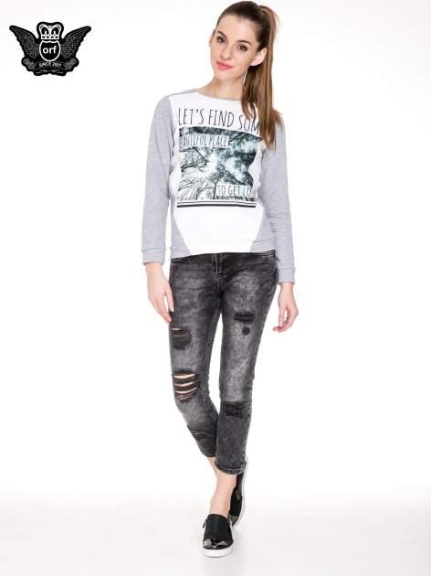 Czarne spodnie jeansowe rurki z dziurami przetarciami                                  zdj.                                  2