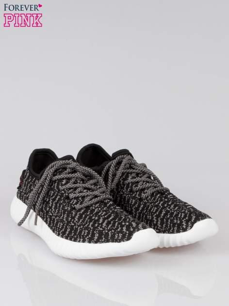 Czarne sportowe buty textile Blossom z szarym nadrukiem                                  zdj.                                  2