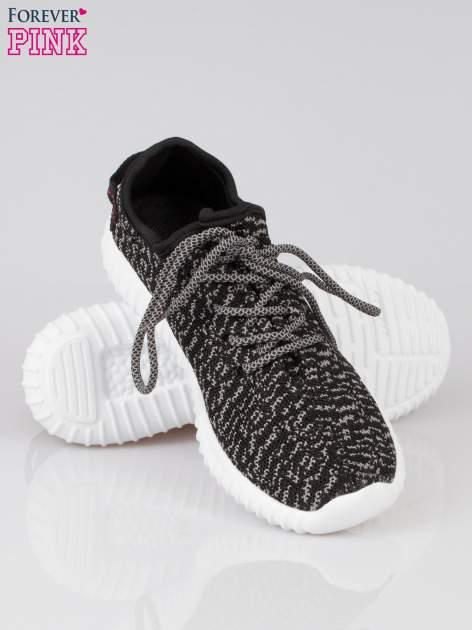 Czarne sportowe buty textile Blossom z szarym nadrukiem                                  zdj.                                  4