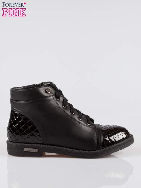Czarne sznurowane botki damskie crocodile skin cap toe