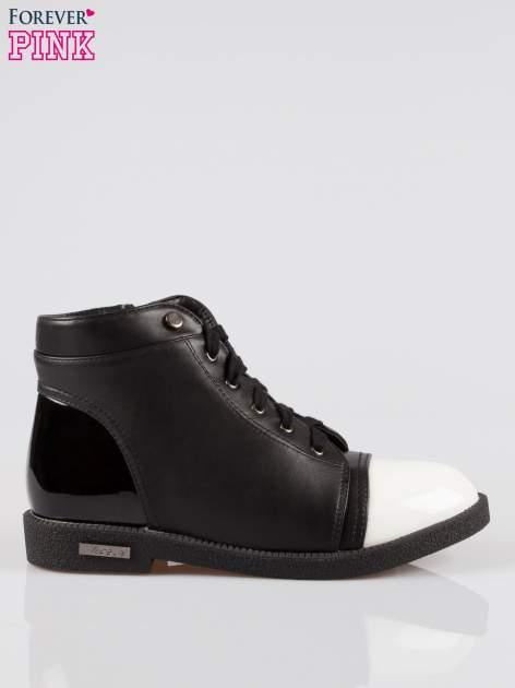 Czarne sznurowane botki damskie white cap toe