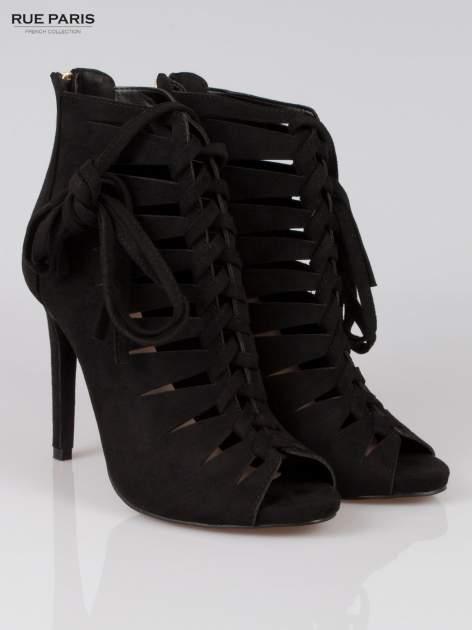 Czarne sznurowane botki lace up z zamkiem                                  zdj.                                  2