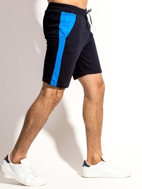 Czarne szorty męskie z kontrastowymi wstawkami                              zdj.                              3