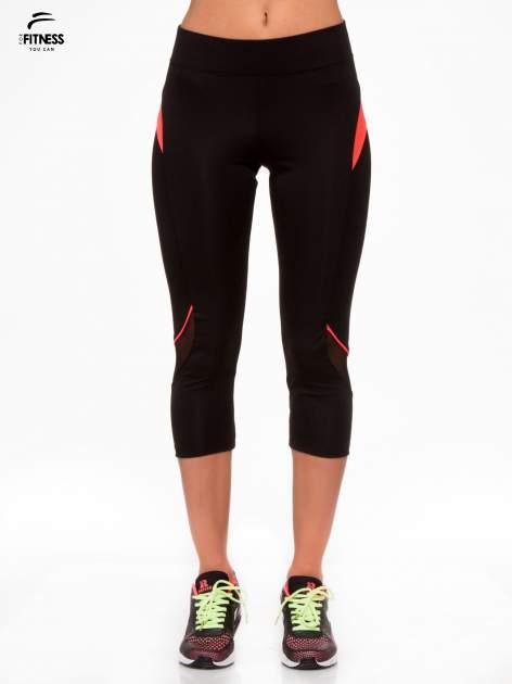 Czarne termoaktywne legginsy do biegania 3/4 z fluoróżowymi lampasami ♦ Performance RUN