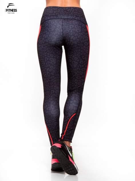 Czarne termoaktywne legginsy do biegania w panterkę z fluoróżowymi wstawkami po bokach ♦ Performance RUN                                  zdj.                                  4