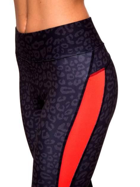 Czarne termoaktywne legginsy do biegania w panterkę z fluoróżowymi wstawkami po bokach ♦ Performance RUN                                  zdj.                                  7