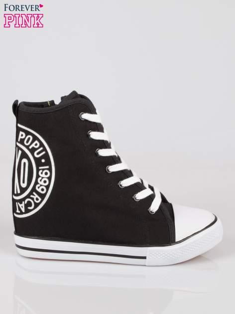 Czarne trampki na koturnie sneakersy z logo