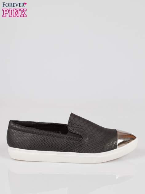 Czarne wężowe buty slippers silver cap toe