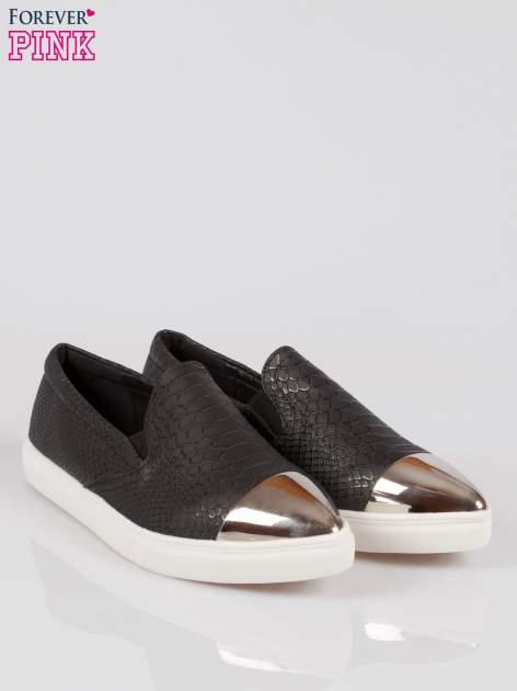 Czarne wężowe buty slippers silver cap toe                                  zdj.                                  2