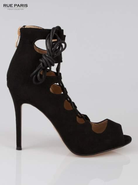 Czarne wiązane szpilki gladiatorki lace up                                  zdj.                                  1