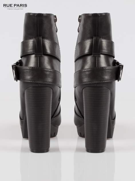 Czarne wysokie botki na platformie w stylu motocyklowym                                  zdj.                                  3